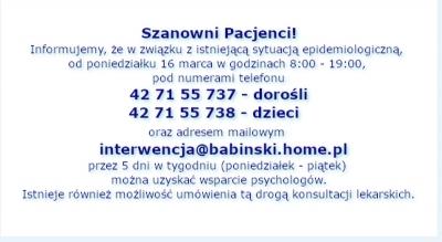 Szpital im. Babińskiego oferuje wsparcie psychologiczne w związku z pandemią