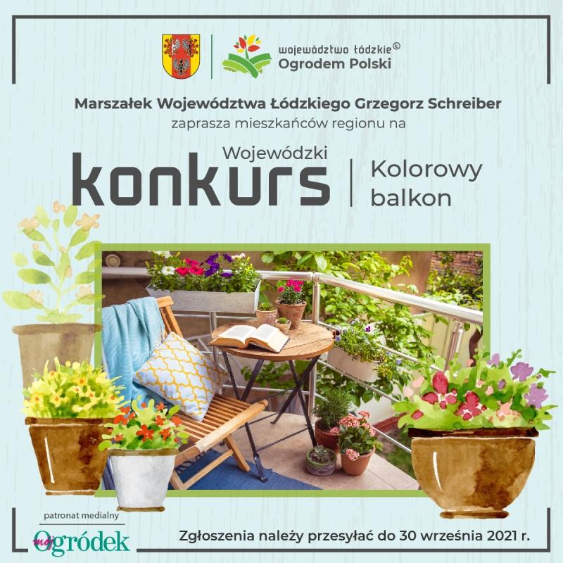 """Wojewódzki Konkurs na """"Kolorowy balkon"""" - plakat"""