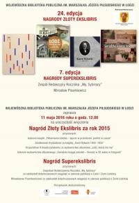 Uroczystość wręczenia Nagród Złoty Ekslibris i Superekslibris za 2015 rok